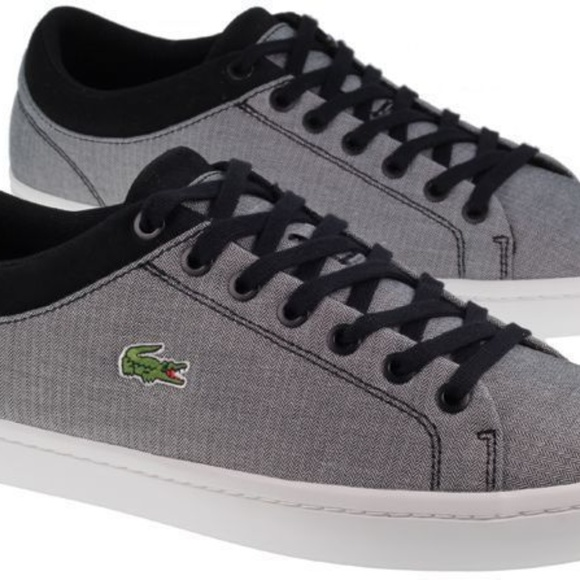 46779586d72f2a Lacoste Canvas Straightset Lace-Up Sneakers Black